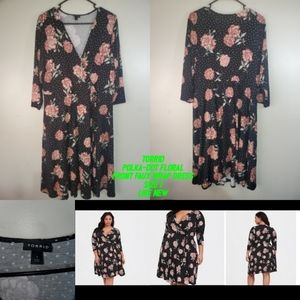 Torrid Polka-dot Floral Front Faux Wrap Dress